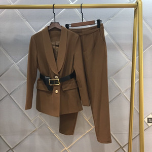 Kadınlar için Profesyonel Yün Takım Elbise Sonbahar / Kış 2020 Yeni Moda Bayanlar Web Ünlü Sokak Fotoğraf Kızarmış Sokak İki Parçalı Set