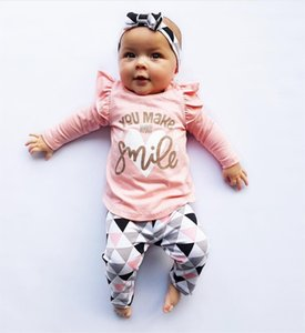 3Pcs Newborn Baby Girl Clothes Pink Sleeve Ruffle Tops+Geometric Pants+Headband Infant Toddler Baby Girls Clothing Set 201118