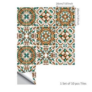 10pcs set Waterproof PVC Wallpaper Waist Line Flower Tiles Sticker Removable Wall Decals Home Decoration DIY Mosaic Wall Tiles