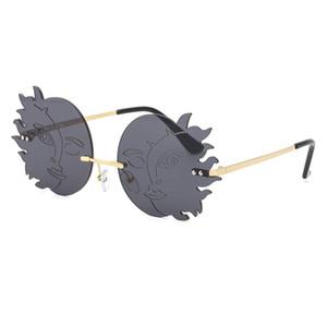 Vintage Style SUN&MOON Rimless Sun glasses Colorful Lady Men Women Party Frame Sunglasses