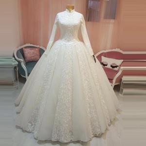 2021 vintage Arabic Bridal Gown Islamic Muslim Wedding Dresses high neck Arab Ball Gown Lace Hijab Long Sleeves Princess bridal gowns