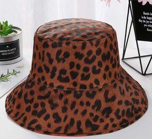패션 쌍방 블랙 레오파드 버켓 모자를 들어 여성 가역 파나마 일 여름 여성 한국어 비치 어부의 모자