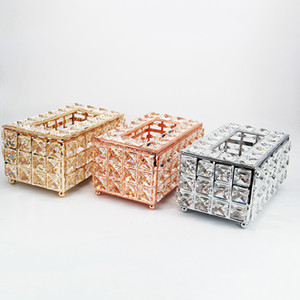 Crystal Tissue Box Home Living Room Coffee Table Pumping Box Creative Metal Removable Tissue Boxs Restaurant Car Decoration