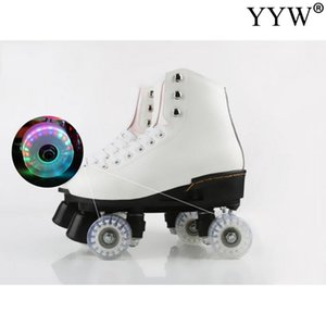 4 Wheels Roller Skate Shoes Flash PU Leather Sneaker Rollers Skates Hockey Colorful Glowing Roller Outdoor For Male Female Adult