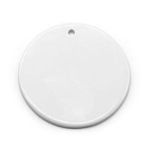 Пустые белые сублимационные керамические подвески творческие рождественские украшения теплопередача печать DIY круглый керамический орнамент GGA3812-2