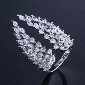 Сверкающие винтажные ювелирные изделия моды 925 стерлингового серебра полный маркизовый вырезанный белый бриллиант вечности крыла свадьба свадьба регулируемое кольцо 1160 q2