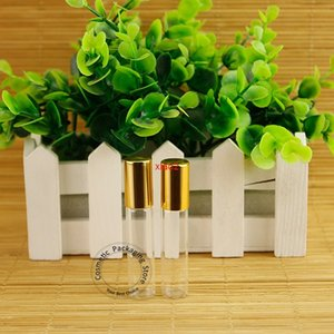 good qualtity100pcs Lot Wholesale 5ml Glass Perfume Bottle Gold Cap Container 1 6OZ Cosmetic Pot Travel Portable Small Refillable Packaing