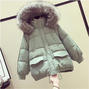 Autumn and winter down cotton-padded jacket loose winter Korean bread jacket warm padded parka1
