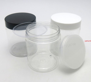 24 x 250g Empty Clear PET Jars Seal Metal Screw lids 250cc Transparent Plastic Cream Cosmetic Packaging Containersfree shipping by