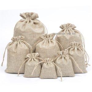 طبقة مزدوجة عالية شيوع الكتان الطبيعي أكياس الرباط المجوهرات الحقيبة أكياس الجوت الحشي حزمة أكياس هدية هسي