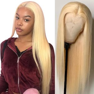 Blonde 4x4 Lace Closure Human Hair Wigs #613 Sdamey Brazilian Bone Straight Human Hair Wigs Middle Part T Part Lace Frontal Wig