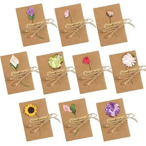 Dried Flowers Greeting Cards, 50Pcs Handmade Greeting Cards Vintage Kraft Blank Note Card Thank Notes for Birthday Party Invitat