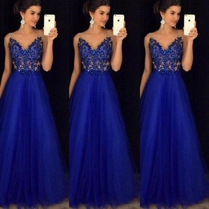 Women Formal Lace Blue Dresses Ladies Sleeveless Bridesmaid Long Party Ball Prom Gown Mesh Dress Female Slim Elegant Dress