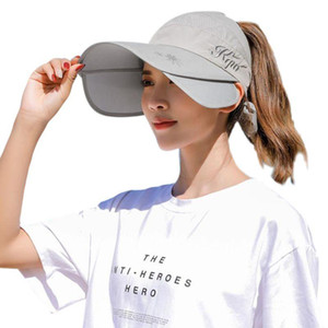 Women Retractable Wide Brim Sun Visor Hat Empty Top Bowknot Cycling Baseball Cap 28GD