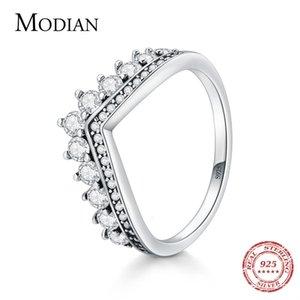 Mode modian 100% véritable 925 sterling zircon couronne doigt anneau classique empilable argent bijoux pour femmes mariage Noël présent