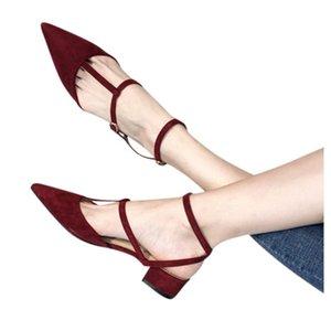 SAGACE Work Shoes Women Casual Flock Low Heel Pumps Ladies Elegant Pointed Toe Square Heels Buckle Single Shoes Mujer