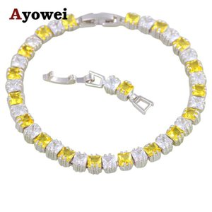 Hot Sell Online Attitude Jaune Jaune Zircon Silver Bijoux Charme Bracelets pour Femmes Meilleur cadeau Fashion Bijoux TBS1085A