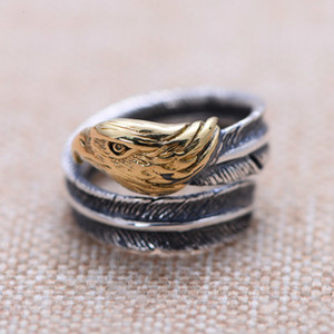 Real 925 Silver Vintage Gold Plated Ring for men Classic American eagle opening adjustable luxury designer jewelry high quality with box