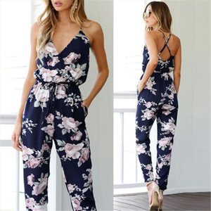 New Trendy Women clothes Summer Bodycon Party backless Flower print Jumpsuit sleeveless Polyester V neck Romper one pieces