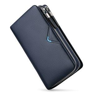 Clutch Bag Wallets Men Genuine Leather large Capacity Elegant Handbags with Double Zipper