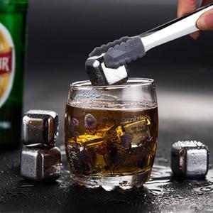 4 pcs / conjunto de ouro cubo gelo congelado conjunto de aço inoxidável metal modelo pinças bebida café bebida uísque bar vinho pedra pedra criativa suprimentos ffe3418