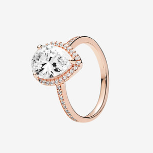 Top Fashion Rose gold plated RING Womens Wedding Gift Sparkling Teardrop Halo Rings with box for 925 Silver ring
