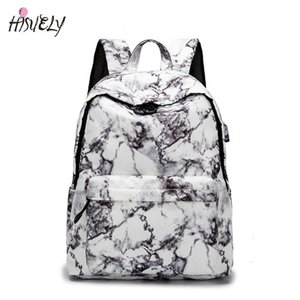 New 15.6 inch Travel Marble Large Backpack Women USB School Backpack for Teenagers Girls Bags Female Rucksack Bag Set In Luggage