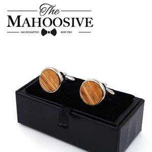 Mahoosive Wooden Wedding Groom Round Zebra Wood Gemelos para Mens Shirt Accessories Casual Publan Link Mancuerneras