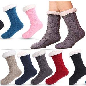 Унисекс зимний ультра плюшевые тапочки носки флисовой подкладки напольные носки длинные кашемировые чулки противоскользящие силикагель дождь снежные ботинки носки E121506
