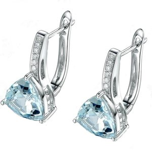Pendientes de gota de agua de cristal de zircon cúbico para mujeres Niñas Niñas Pendientes de novia Sky Sky Blue Topaz Pendiente Accesorios de joyería