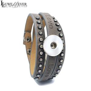 Charme Bracelets Love Mode 046 Bracelet cristal en cuir PU interchangeable 18mm boutonnage boutonnage bijoux pour femmes hommes cadeau