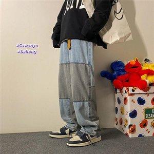 Neploha мужская повседневная повседневная уличная одежда лоскутная джинсы брюки женские негабаритные джинсовые штаны мода прямой джинсовой