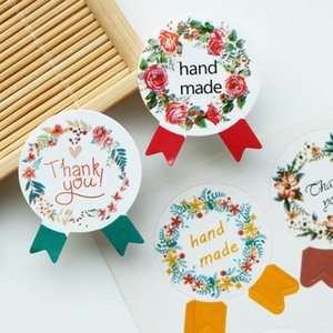 108pcs Medal Shape Paper Sticker 4 Colores Mix Hand Made Sealing Stickers Thank you Labels Party DIY Wedding Party Decoration