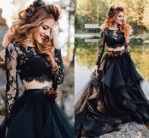 Gothic Black Lace Beach Wedding Dresses A Line Sheer Bateau Neck Two Pieces Bridals Gowns Long Sleeves Tulle Boho vestidos de