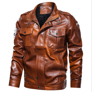2020 Fashion Mens Leather Jacket Military Chest Big Pockets Brown Faux Leather Jacket Men Zipper Motocycle PU Jacket Plus Size Coats w1196