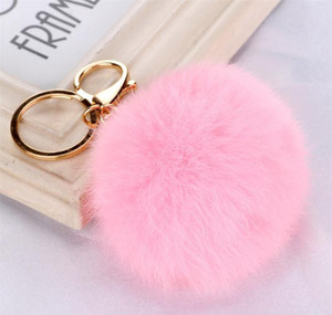 Multi Color Pink Rabbit Fur Ball Keychain Bag Plush Car Key Holder Pendant Key Chain Rings For Women 2020 jllHTk bde_jewelry