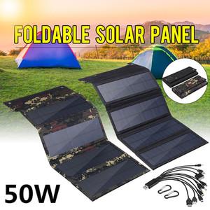 Pannello solare pieghevole 50W 5V Potenza solare celle solari Bank Pack USB 10in1 cavo USB impermeabile per telefono zaino campeggio escursionismo