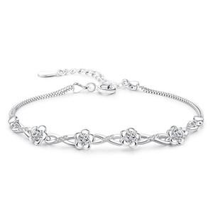 Flower Plum Zircon Charms Bracelet Silver plated color Bracelets For Women Bracelets & Bangles Femme Bileklik Pulseira Feminina