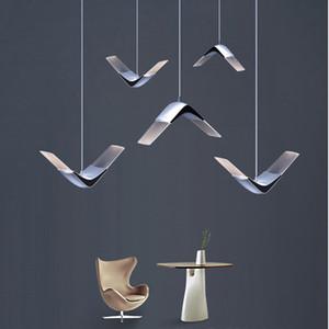 LED Seagull Bird Pendant Light Room Sala da pranzo Cucina Bar Sospensione Light Nordic Designer Ala Lampada da paralume acrilico Lampada minimalista