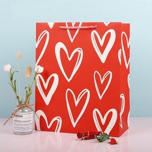 Valentine amour cadeau sac cadeau coeur rouge shopping cadeau sac d'emballage papier blanc kraft papier petit sac d'emballage actuel DHF3918