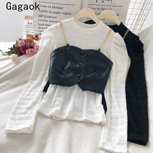 Gagaok Two Piece Ensemble Femmes 2020 Spring Automne Nouveau Colde O-Coldy Dame Full Solide Coréen Chic Chic Suisse Tenue Pullover + Vest1