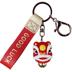 Fashion creative gifts exquisite lion dance lion feng shui kylin key chain bag buckle car pendant Chinese style