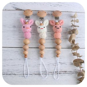 2021 new Cartoon Wood Newborn Baby Dummy Pacifier Clip Chain Infant Nipple Clip Baby Pacifier Chain Baby toys B3421