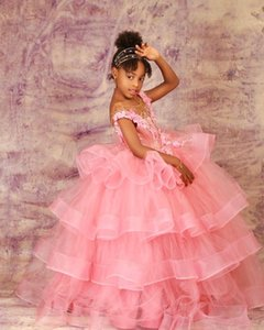 Pink Lace Flower Girl Dresses Sheer Neck Tiers Tulle Little Girl Wedding Dresses Cheap Communion Pageant Dresses Gowns F218