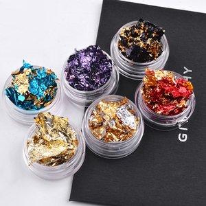 Nail Art Colorful Glitter Aluminum Foils 3D Flake Sticker UV Gel Polish Full Cover Laser DIY Nail Decoration Tools
