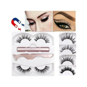 Magnetic Easy To Wear Liquid Eyeliner Makeup Magnetic False Eyelashes Lashes Sets Tool Cosmestic