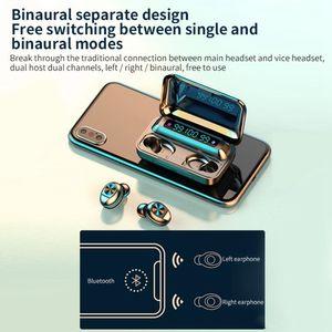 Écouteurs Bluetooth sans fil F9-10 TWS Écouteurs invisibles Stéréo LED LED NUMÉRATION ANNULER LE CASQUE DE GAMING Boîte de rangement Capacité de la batterie 1200mAh