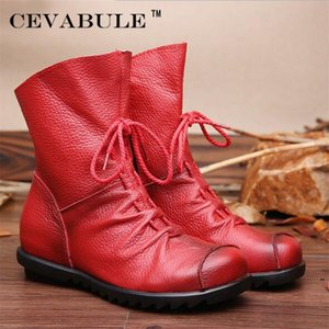 Cevabule Genuine Leather Hand Feito 2020 Inverno Mulheres Western Round Toe Botas Mulher Sapatos .ZXW-1806 LJ201214