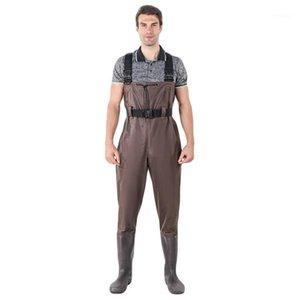 Giacche da caccia Donne da uomo Pantaloni da pesca impermeabili Bootfoot Toracquino Cassa in gomma Travelatori Wading Boots Vestito con pantalone mimetico1