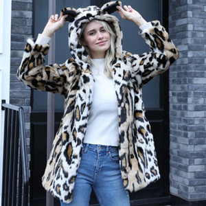 Winter Warm Parkas Jacket Thick Faux Fur Long Coat Animal Ear with Hooded Leopard Fur Overcoat Women Outwear Plus Size 4X 6Q23671